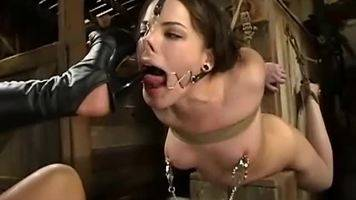 lesbian foot domination,high heels licking,high heels torture,female foot slave