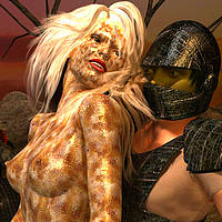 Monster female and a warrior play flesh games.