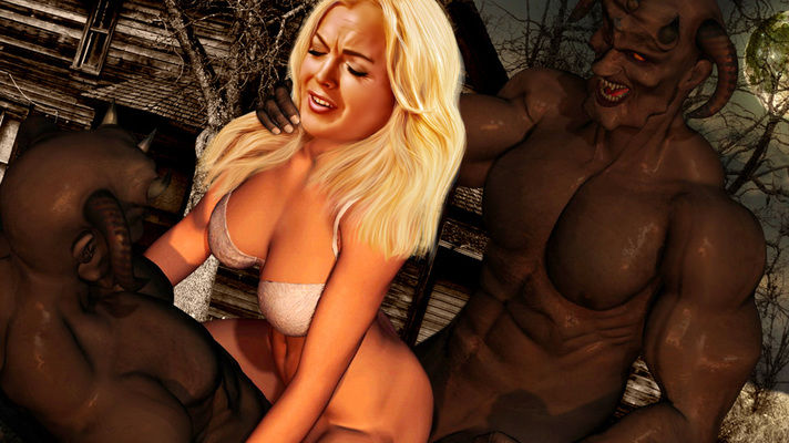 Lindsay L. fucked by monsters in 3D shocking porn scenes