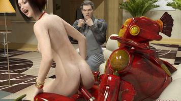 cuckold,3d porn,red lingerie,cyborg,sex robot,scifi