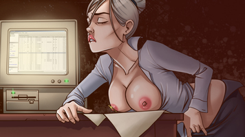 comics,solo,masturbation,office,huge dildo,stories,fetish,insertion,secretary,art,office sex,illustration