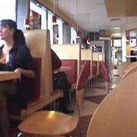 Brunette flashing at restaurant